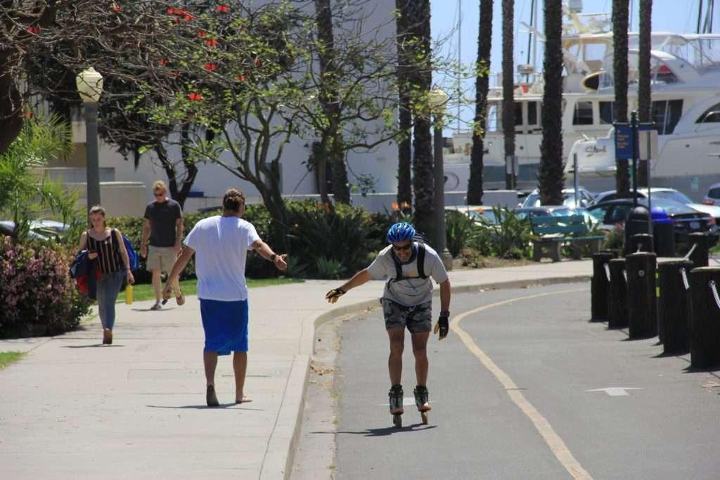 Adam inline skating into the Santa Barbara Harbor