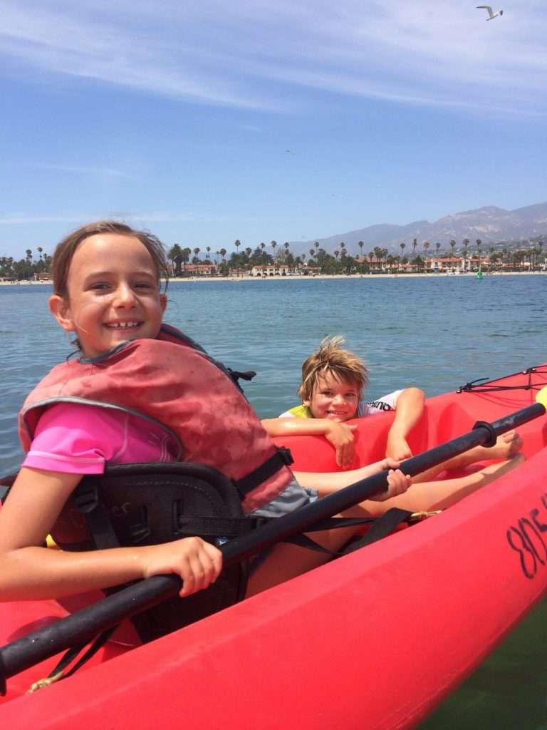 kids kayaking in Santa Barbara