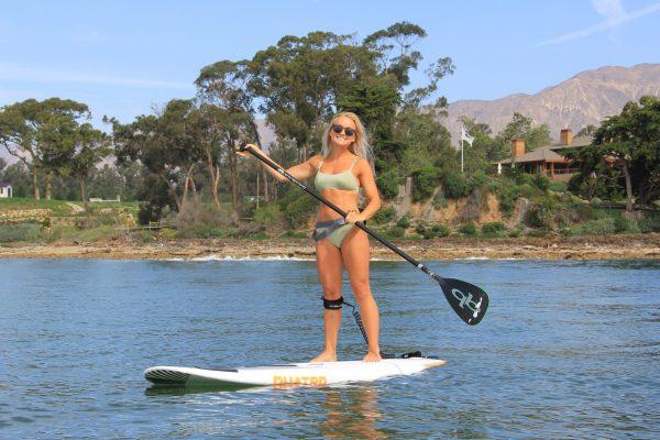 stand up paddleboard a lagoon in santa barbara